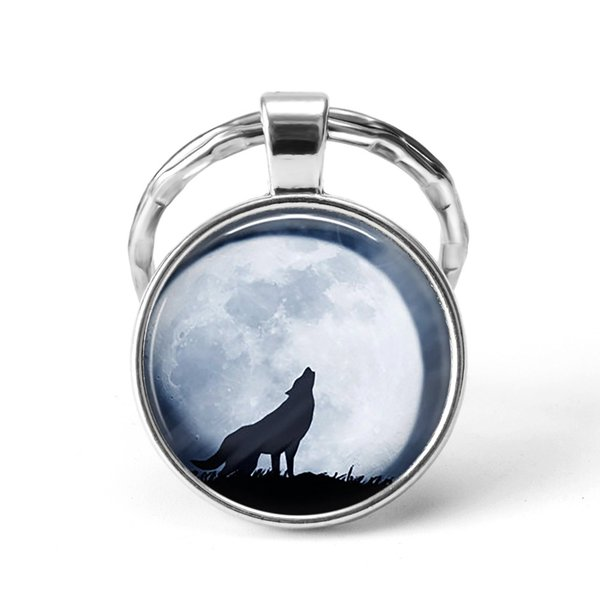 Wolf Moon Keychain Wolf Moon Cabochon Glass Product Keyring Full Jewelry Pendant Key Chain Ring