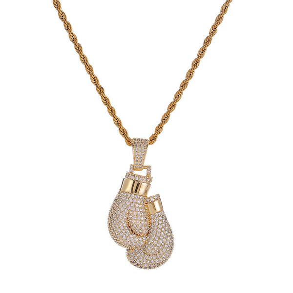 Guantes de boxeo colgante, collar chapado en oro, con incrustaciones de cobre, circonita cúbica, colgante, 60 cm, cadena de acero inoxidable, accesorios para hombre