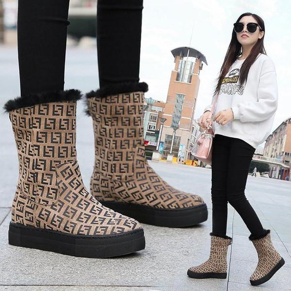 Moda Leopar mektuplar kadın çizmeler marka kar botları peluş yuvarlak ayak kış kadın 2019 yeni yüksek yürüyüş sneakers 2019 yeni s ...