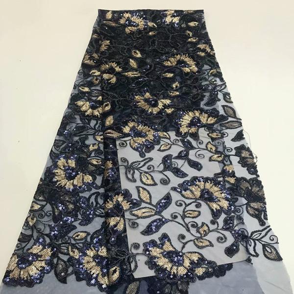 2019 вышивка пайетками Африканская высококачественная чистая французская вуаль гипюр тюль сетка кружевная ткань для платья 5 ярдов / лот