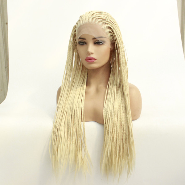 Blonde Braided Wigs Lace Front With Baby Hair Synthetic High Temperature Box Micro Braiding Hair Lacefront Wig For White Women