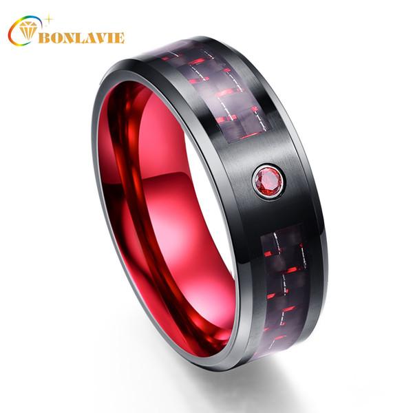 Venta al por mayor exquisito circón rojo hombres anillos 100% carburo de tungsteno alianzas de boda Anillos para hombres anillo masculino J190625