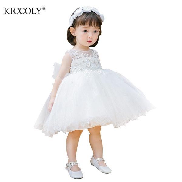 Weiße Tüll Perle Floral Prinzessin Neugeborenes Baby Mädchen Kleid Taufe 1 Jahr Geburtstag Taufkleid für Infant Pageant Party Kleid