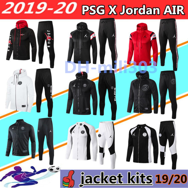 2019 2020 Paris jordam kapşonlu futbol ceket Survetement 19 20 Paris HAVA MBAPPE CAVANI futbol ceket eşofman futbol ceketler en kaliteli