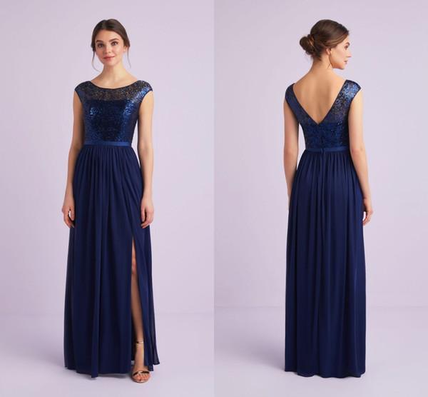 2019 Affordable Navy Blue Long Bridesmaid Dresses Cap Short Sleeves V Backless Side Slits Wedding Party Prom Dress Gowns robes de demoisel