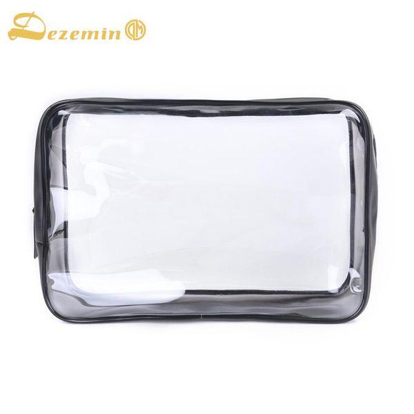 DEZEMIN Kulturbeutel aus durchsichtigem Kunststoff mit doppeltem Reißverschluss Kosmetiktasche Durchsichtig 23x15x7cm