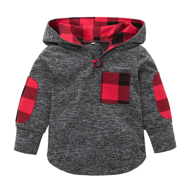 top popular Baby Floral lattice Hoodies Sweatshirt children Boys Girls plaid Tops 2019 spring Autumn T shirts fashion Kids Clothing C5814 2019