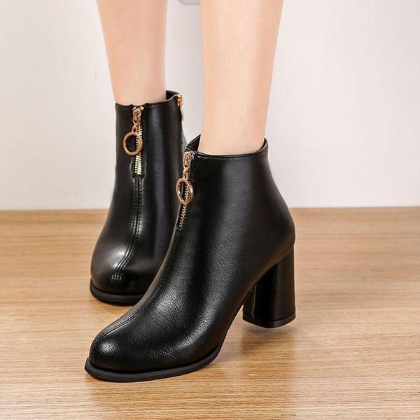 Metálica En Compre Glassshoes Med Con Tacones Flock Pu Cremallera Frente Cuadrado Charm2019 Zapatos Botines El 72 Del A44 EDH9I2