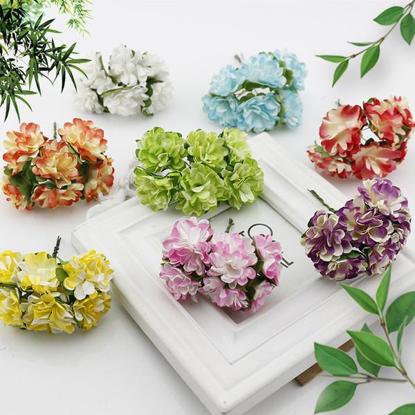 6 Pcs Gift Box Scrapbooking Mini Carnation Paper Artificial Flowers Bouquet For Wedding Decoration Diy Wreath Craft Fake Flower