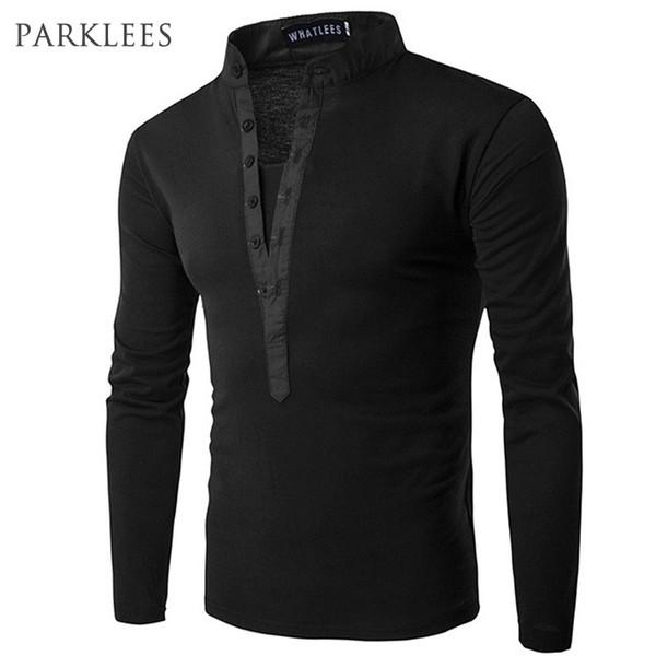 New Trend Black Men Polo Homme 2016 Autumn Fashion Mens Slim Fit Long Sleeve Henley Shirt Casual Cotton Polos Xxl C19041501