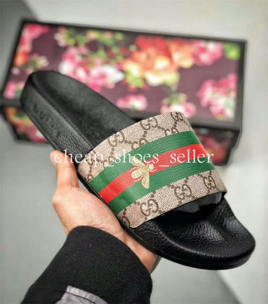 2019 Luxury Designer Mens Womens Summer Sandals Pantoufles Beach Slide Fashion Scuffs Slippers Ladies Flats Shoes Tiger Flowers Bee With Box