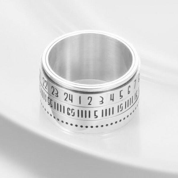 레트로 남성 링 와이드 액세서리 장식 열쇠 고리 선물 약혼 보석 회전 시간 라운드 웨딩 티타늄 스틸 번호