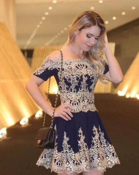Sexy Gold Appliques Prom Dresses Bateau Neckline Short Sleeves Cocktail Party Gowns Cheap Women Formal Evening Dresses With Beaded 2019