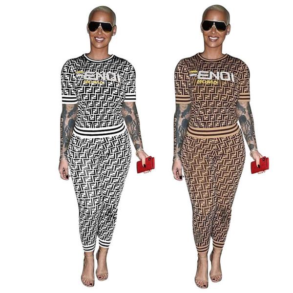 F Mektup Kadın Eşofman Bayanlar Rahat Eşleştirme Kıyafetler Yaz Kısa Kollu Tişört Tee Pantolon Tayt Moda Iki Parçalı Setleri S-3XL C444