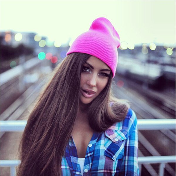 Hat Female Unisex Cotton Blends Solid Warm Soft HIP HOP Knitted Hats Men Winter Caps Women's Skullies Beanies For Girl Wholesale S18120302