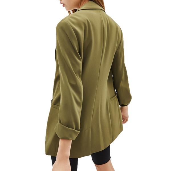 2019 Herbst Mantel Frauen Casual Armee grün Blazer feminino Einreiher Damenbekleidung Langarm Blazer Frauen
