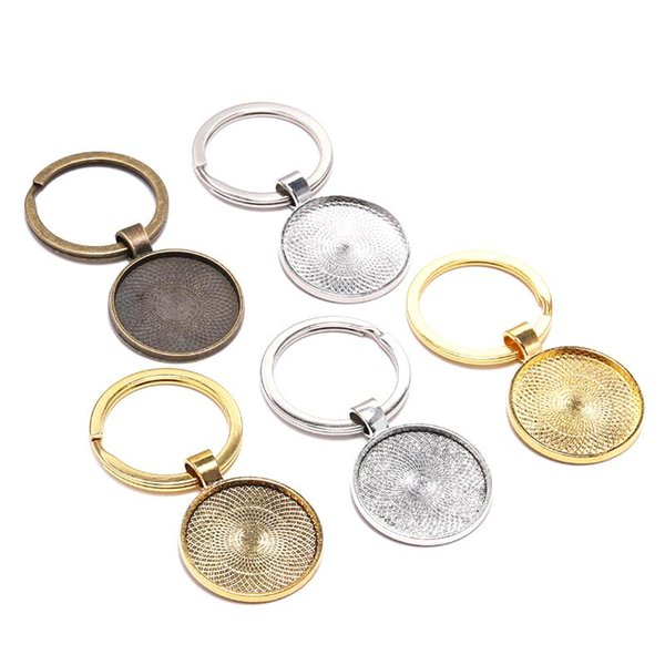 5PCS keychain in bianco catena del pendente Base chiave a mano Portachiavi Fit 25 millimetri di vetro Cabochon Diy Portachiavi individuazione dei monili accessori