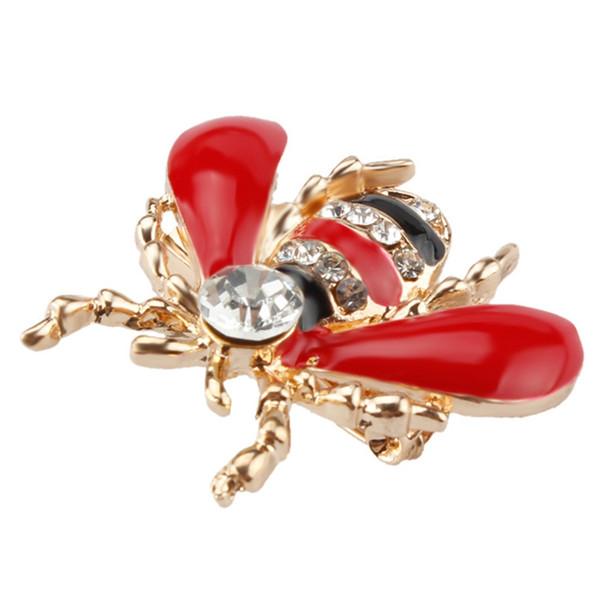 Compre Asas Vermelhas Gotas Petróleo Broche De Abelha Liga De Diamante Dos Desenhos Animados Pequeno Corsage Roupas Broche Acessórios De Jóias Good