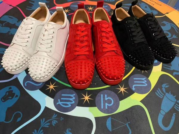 Christian Louboutin shoes de deporte de la moda de los hombres de lujo de fondo diseño de los zapatos del tablero zapatos del remache ocasional multicolor Tamaño 36-46