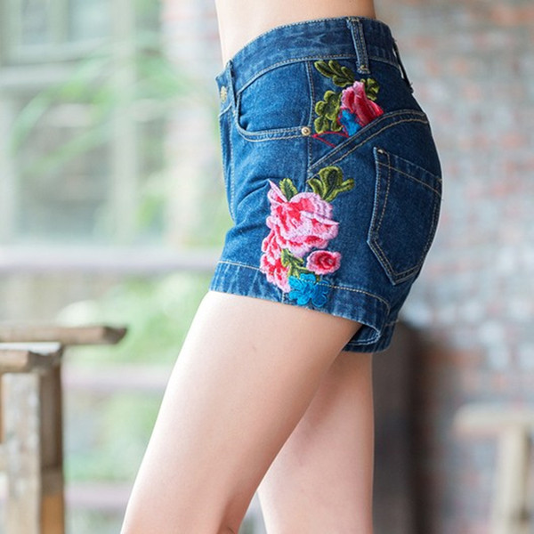 National trend Vintage Washed Embroidery Jeans Women Butt-lifting High waist Shorts HY398