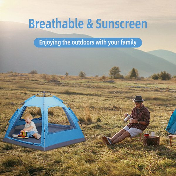 3-4 Person Automatic Family Tent Instant Pop Up Waterproof for Camping Hiking Travel Outdoor Activities