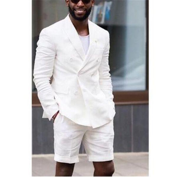 Boda de doble botonadura blanca con pantalón corto Terno Tuxedos vestido de traje de verano para hombre Blazer 2 piezas (chaqueta + pantalones + corbata) C19041601