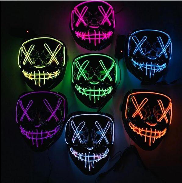 Halloween masque LED allumer partie masques la purge année élection grand drôle masques festival costume cosplay fournitures fournitures lueur dans l'obscurité