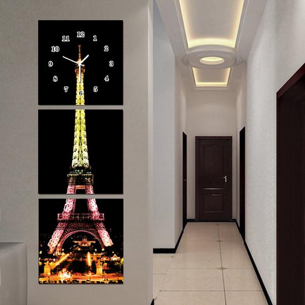 Torre Eiffel Decorazione della parete della Tela di canapa Pittura Clover Clock Decorativo Immagini a parete per soggiorno Modulare Pittura su tela o vetro