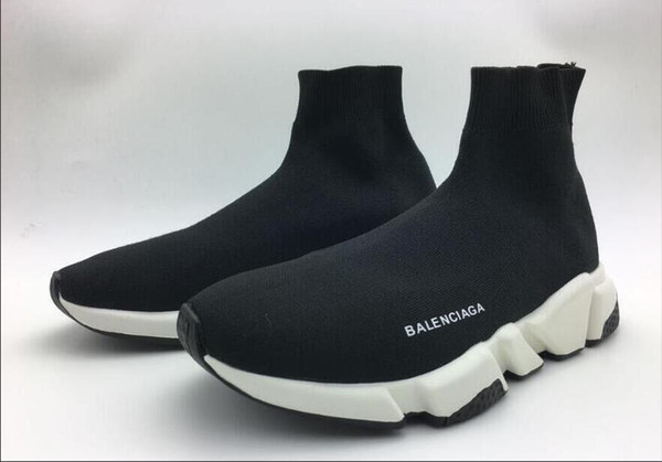 Cheap 2018 High Quality Casual Shoes Flat Fashion Luxury Socks Boots Women Slip-on Elastic Cloth Speed Trainer Men Designer Shoes 36-45