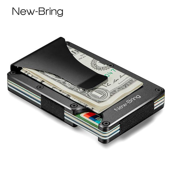 Newbring Metal Mini Money Clip Brand Fashion Black White Credit Card Id Holder With Rfid Anti-thief Wallet Men Y19052202