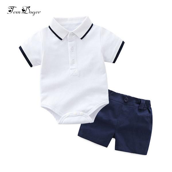 Xirubaby Baby Boy Clothing Sets 2018 Summer Newborn Boy T-shirts Romper+shorts 2pcs Sport Suit Infant Boys Casual Outfit Sets J190520