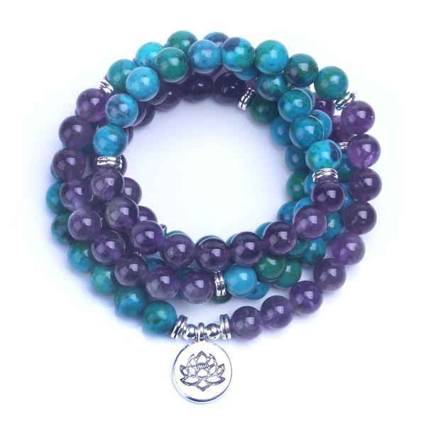 108 Mala Healing Bracelet Or Necklace Phoenix Amerthyst Stone Meditative Yoga Jewelry MX190727