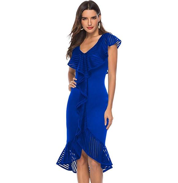 Elegant Space-Cotton V Neck Mermaid Party Prom Dress Sleeveless Falbala Hi-Lo Mid-Calf Evening Dresses
