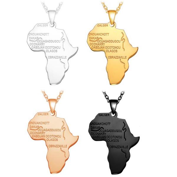 Stainless steel African Map Pendant Necklace Men s Gold Silver Rose Gold Black Lettering charm Link chain For women Hip hop Jewelry