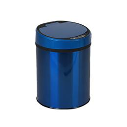 Small Automatic Trash Can Touchless Intelligent Induction Garbage Bin With Inner Bucket Contactless Circulator Quiet Lid Close Can Blue