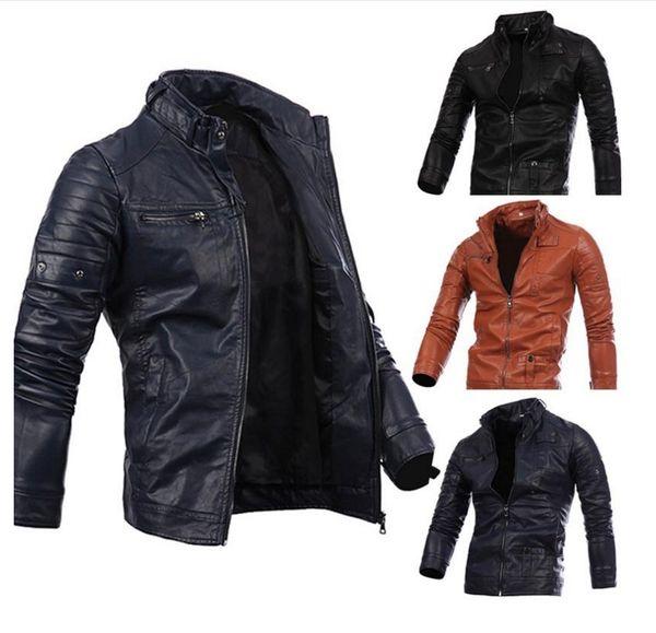 2019 Top free hot sale Men Locomotive Coat Leisure Leather Jackets Zipper Casual Jumper Winter Outerwear Fashion Overcoat Top Outerwear