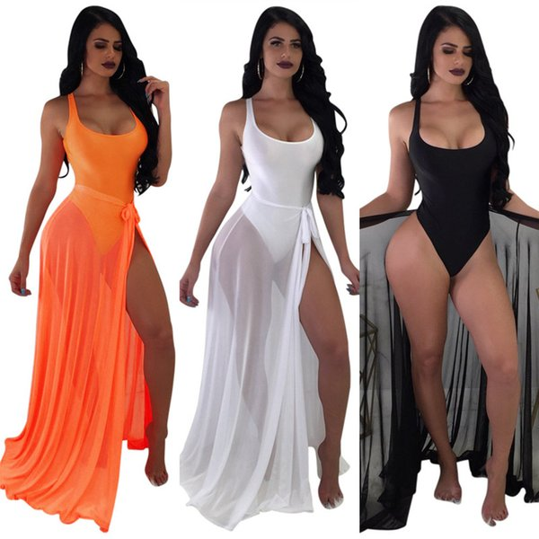 Women Sexy Scoop Neck One-piece Bathing Suits and Bandage Sheer Mesh Long Maxi Skirt Set Beach Sports Swimwear Cover Up