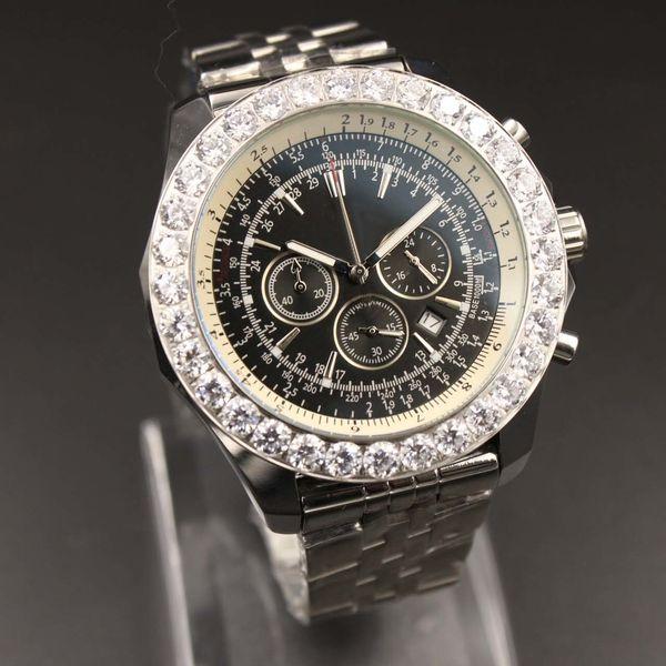 Мужские наручные часы на открытом воздухе Кварцевые хронографы Мужские наручные часы Navitimer Diamond Montbrillant Стальной ремешок Черный циферблат Мужские часы Часы