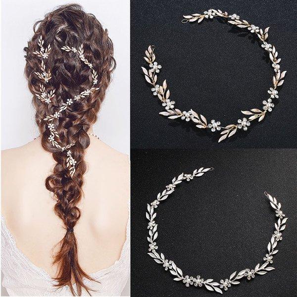 2019 delicado cristal perla hojas nupcial sombreros hechos a mano elegante de la boda accesorios para el cabello de lujo tiara pelo Pin Hairband