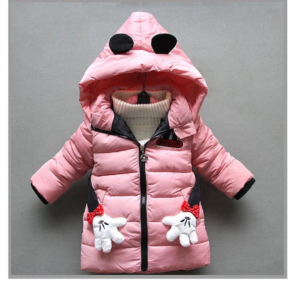 good qulaity winter warm girls coats children cartoon long sleeve thick outerwear casual hooded jackets down parkas kids snow suit