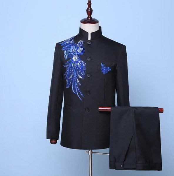 Blazer men Chinese tunic suit set with pants mens wedding suits singer star style stage Sticky flower Stand collar formal dress