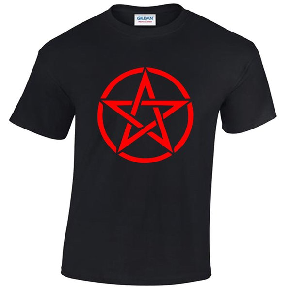 Pentagram T-Shirt Mens S-5XL goth rock punk metal gothic biker satanic red Personality 2018 Brand T Shirt Top Tees Short Sleeve Tops Tee