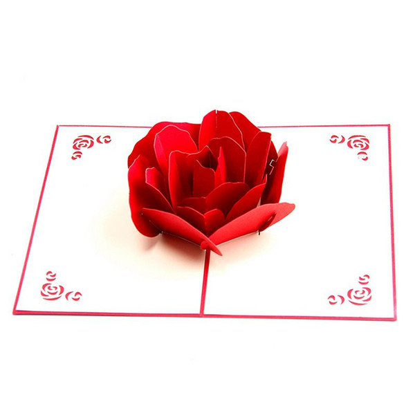Promotion 3d Up Rose Thank You Greeting Postcards Flower Handmade Blank Vintage Paper Happy Birthday Love Gift Card