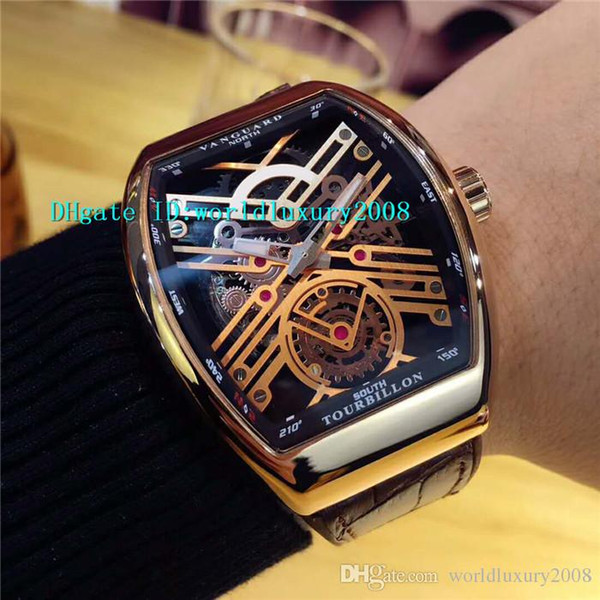 Top Rose Gold Skeleton Dial YachTing Automatic Mens Watch Brown Rubber Strap Sapphire Fashion Big Tonneau Designer Watches