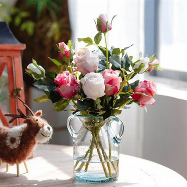 "Fake Single Stem Retro Rose (2 heads/piece) 18.9"" Length Simulation Oil Painting Roses for Wedding Home Decorative Artificial Flower"