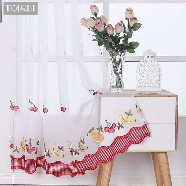 2019 TONGDI Kitchen Curtains Pastoral Fruit Cafe Beautiful Embroidery Tulle  Country Decor Decoration For Window Kitchen Dining From Qygw_gt, $25.96 |  ...