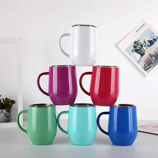 9 Colors 12oz Egg Cup Wine Glass With Handle Double Wall stainless steel tumbler Thermos Stemless tumblers Travel Beer Mugs MMA1960