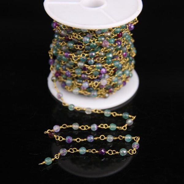 Chapelet de chapelet en cuivre à facettes rondes 4mm vert bleu Agates, chaîne de fils de laiton gemmes pierre naturelle enveloppée, fabrication de bijoux pour femmes
