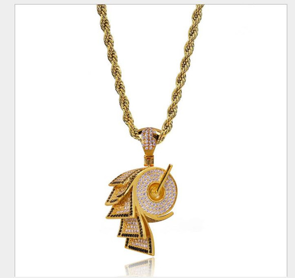 2019 Gold-plated zircon necklace with rolled paper shape hip-hop personality Necklace