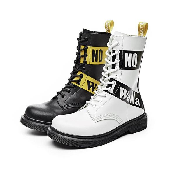 Moto britannique bottes femmes chaussures plates bottes de neige bottes blanches de mode en cuir véritable Graffiti à lacets dames 10 trous
